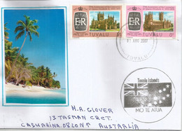 Tuvalu Islands: Pacific Coral Atolls., Canterbury & Hereford Cathedrals (UK)., Letter To Australia - Timbres