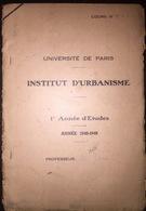 FRANCE INSTITUT D'URBANISME  Max Sorre  Les Fonctions Non Economiques  L'UNIVERSITE DE PARIS 1948 - Architecture