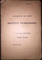 FRANCE INSTITUT D'URBANISME Max Sorre Geographie Urbain  L'UNIVERSITE DE PARIS 1948 - Architecture