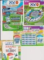 """Lot De 4 Tickets Jeux Grattage FDJ """" XV DE FRANCE MILLE BORNES""""  Dates Sortie Et émission Jeu Toutes Différentes - Old Paper"""