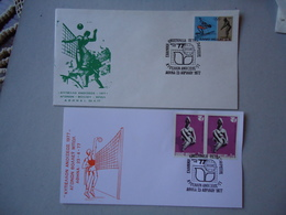 GREECE 2  COMMEMORATIVE  COVERS & CARDS  SPORTS VOLLEYBALL CUP ATHENS 1977 - Grèce