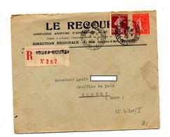 Lettre Recommandée  Rouen Sur Semeuse - Marcophilie (Lettres)
