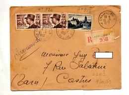 Lettre Recommandée Chamalieres Sur De Tassigny Arbois - Postmark Collection (Covers)