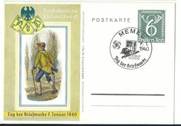 DR Ganzsachen P289 Tag Der Briefmarke 1940 Ungelaufen Sonderstempel MEMEL - Alemania