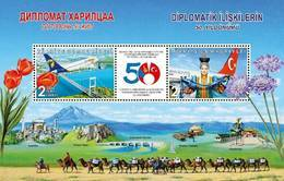 TURKEY/2019 - 50th Year Of Diplomatic Relations With Mongolia (Aviation, Tulip, Flower), MNH - Nuevos