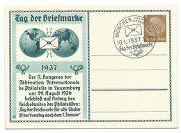 DR Privat-Ganzsache Tag Der Briefmarke 1937 Ungelaufen Sonderstempel MÜNCHEN - Ganzsachen