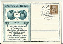 DR Privat-Ganzsache Tag Der Briefmarke 1937 Französischer Text Ungelaufen Sonderstempel MÜNCHEN - Alemania