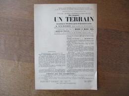 HELLEMMES-LEZ-LILLE LE 8 MARS 1921 VENTE D'UN TERRAIN RUE JACQUART OCCUPE PAR M. HECTOR CLETON EXPERT 25cm/18cm - Affiches
