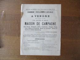 HELLEMMES-LEZ-LILLE LE 20 JUILLET 1893 VENTE D'UNE GRANDE ET BELLE MAISON DE CAMPAGNE ROUTE DE LILLE A TOURNAI N°157 AVE - Manifesti