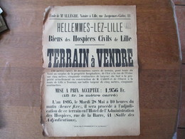 HELLEMMES-LEZ-LILLE LE 28 MAI 1895 TERRAIN A VENDRE BIENS DES HOSPICES CIVILS DE LILLE 42cm/31cm - Manifesti