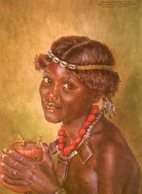 Kenya. CP. Boran Girl. From A Painting In The National Museum, Nairobi, By Joy Andamson. - Kenya