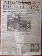 Journal Front National (9 Mai 1945) Paix Sur L'Europe - Paris A Fêté La Victoire - - Autres