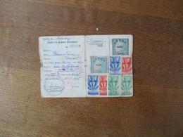 ASSOCIATION DEPARTEMENTALE DES PRISONNIERS DE GUERRE DU NORD CARTE DE MEMBRE ADHERENT TIMBRES 1946 A 1951 - Dokumente
