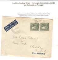 AMI4/ TP 433(2) Poortman S/L.Avion C.BXL 10/6/41 > USA Via Allemagne Censure 'e' Frankfort Via Portugal - Weltkrieg 1939-45