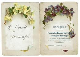 Menu Banquet 1900 - Ass. Centrale Des Patrons Boulangers De Belgique - 1er Anniversaire Fabrique De Chocolat -  2 Scans - Menus