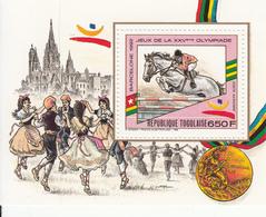 1989 Togo Olympics Barcelona Equestrian Horses  Souvenir Sheet MNH - Togo (1960-...)