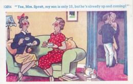 AL74  Trow Signed - Mothers Having Tea, Kissing Teenagers - Humour
