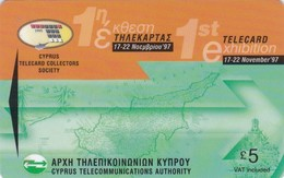 Cyprus, 25CYPS (Ø), £1, 1st Telecard Exhibition, 2 Scans    Slashed 0 - Cyprus