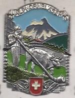 ALPHORNBLASER VACHE KUH COW HORN ECUSSON PLAQUE METAL EMAILLEE CANNE RANDONNEE BLASON WAPPEN SCHWEIZ SUISSE SWIZZERLAND - Viajes