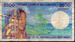COMORES COMORE KOMOREN COMOROS 2500 FRANCS 1997 PICK 13 B-TB RARE TORTUE CARETTA CARETTA - Comores