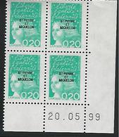 Coin Daté 20.05.99. Marianne De Luquet 0.20fr Surchargé Saint Pierre Et Miquelon - St.Pierre & Miquelon