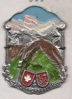 STANSERHORN BAHN 1900  ECUSSON PLAQUE METAL EMAILLEE CANNE RANDONNEE BLASON WAPPEN SCHWEIZ SUISSE SWIZZERLAND - Voyages