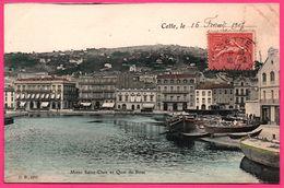 Cette - Sete - Mont Saint Clair Et Quai De Bosc - St - Péniche - Edit. D.B. - 1907 - Colorisée - Sete (Cette)