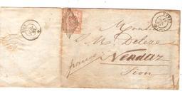 AMI8/ Suisse TP Rayon III 15 Rp S/LAC Denrées Coloniales Huiles&Tabacs C.Vevey 1852 > Sion C.d'arrivée - 1843-1852 Timbres Cantonaux Et  Fédéraux