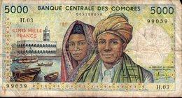 COMORES COMORE KOMOREN COMOROS 5000 Francs 1984-2005 Pick 12a TB - Comores