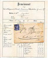 RHONE LAC 1877 VILLEFRANCHE SUR SAONE T17 SUR 25C SAGE + OR = BULLETIN NOTES PENSIONNAT A POMMIERS - Storia Postale
