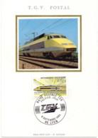 TGV Postal Carte Maximum 1er Jour Rame Postale Lyon (69) 8 Septembre 1984 - Cartes-Maximum