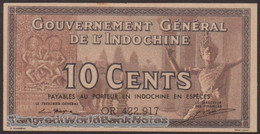 TWN - FRENCH INDO-CHINA 85e - 10 Cents 1939 Serial # Format XX123.456 - Various Suffixes - Sign. Mayet & Cousin XF/AU - Indocina