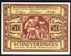 Germany Schneverdingen 1921 / 50 Pfennig / Schuster, Ornamente / Gutschein / Notgeld, Banknote - [11] Lokale Uitgaven