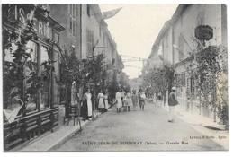 Cpa...Saint-jean-de-Bournay...(Isère)...grande Rue...animée...commerces...tabac...1911... - Saint-Jean-de-Bournay
