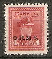 CANADA 1949 4c O.H.M.S. OFFICIAL SG O165 MOUNTED MINT Cat £7 - Officials