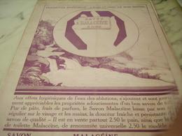 ANCIENNE PUBLICITE EAU CLAIRE LE BON SAVON MALACEINE 1922 - Perfume & Beauty