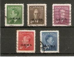 CANADA 1949  O.H.M.S. OFFICIALS SET TO 5c SG O172/O176 FINE USED Cat £19+ - Officials