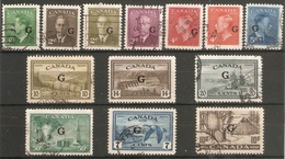 CANADA 1949  'G'. OFFICIALS BETWEEN SG O178 AND SG O191 FINE USED Cat £75+ - Officials