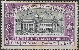 HYDERABAD 1937 Unani General Hospital - 4p - Slate And Violet MH - Hyderabad