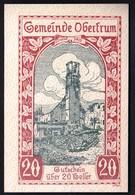 Austria Obertrum 1920 / 20 Heller / Gutschein / Bauernhaus Mit Bauern, Brand / Notgeld, Banknote - Oesterreich
