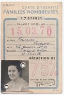 TERVILLE (57) S.N..C.F. CARTE D'IDENTITE FAMILLES NOMBREUSES. 1957. - Titres De Transport