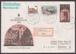 """Mi- Nr. U8, R- Brief Mit Pass. Zusatzfr. """"Krölpa"""", 30.7.90 - DDR"""