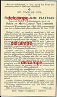 Oorlog Guerre Florent Platteau Waarmaarde Soldaat Gesneuveld Te Lichtervelde 26 Mei 1940 Van LEYNSEELE Bidprentje - Imágenes Religiosas