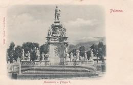CARTOLINA - PALERMO - MONUMENTO A FILIPPO V. - VIAGGIATA PER PISA ( FRANCOBOLLO ASPORTATO) - Palermo