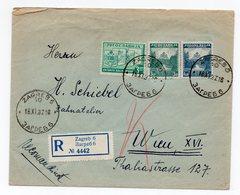 1937 YUGOSLAVIA, CROATIA, REGISTERED MAIL, ZAGREB TO VIENNA - 1931-1941 Kingdom Of Yugoslavia