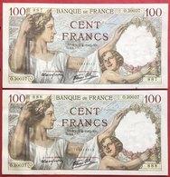 N°196 SUITE DE 2 BILLETS DE 100 FRANCS SULLY 1942 - 1871-1952 Circulated During XXth