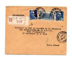 Lettre Recommandée Paris 115 Sur Gandon Palais - Marcophilie (Lettres)