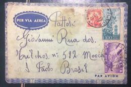 1949 POSTA AEREA - SU BUSTA VIAGGIATA DA LUCCA X SAN PAOLO DEL BRASILE - 6. 1946-.. Repubblica