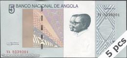 TWN - ANGOLA 151A - 5 Kwanzas 10.2012 (2017) DEALERS LOT X 5 - Prefix YA - Angola
