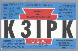 US.- QSL KAART. CARD. K3IPK. RICHARD M. NEUKAMP, WASHINGTON, PA.  MONTGOMERY COUNTY. FRANKFORD RADIO CLUB.U.S.A.. - Radio-amateur